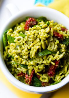 Silly Green Alphabet Pasta - aka Pesto with Spinach & Sun Dried Tomatoes