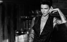 Download wallpapers Ruby Rose, Australian actress, fashion model, black dress, portrait, tattoo on hands