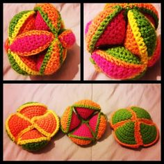 Pelota Montessori tejida a Crochet ⚽️ 😍 (Puzzle Ball) Juguete para la estimulación.