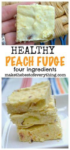 Healthy Peach Fudge. Four Ingredients. No Bake. Delicious.