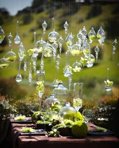 hanging votives + glass vases for an outdoor party, so pretty!!