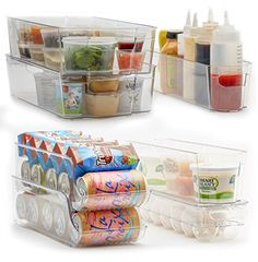 7-Piece Refrigerator and Freezer Storage Bin Set with Han...