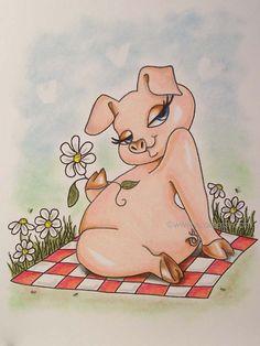 Pig Hog farm animal ORIGINAL drawing animal illustration от VCAD