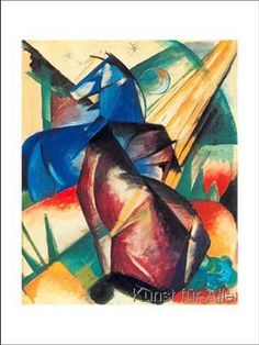 Franz Marc - Two Horses Red And Blue, cubism, 1912, oil painting, 38.1x 44.45cm Nice color contrast and color exploration!