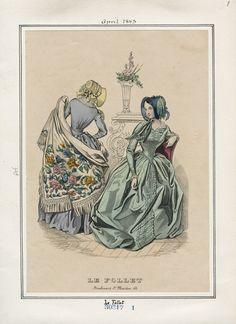 Le Follet April 1843 LAPL Victorian Women, Victorian Gothic, Victorian Fashion, Vintage Fashion, 1914 Fashion, Club Fashion, Victorian Costume, Jacques Fath, Paris Vintage