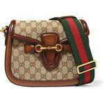 Gucci Lady Web medium leather-trimmed coated-canvas shoulder bag