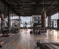 Karzan ov on Behance Dream Home Gym, Gym Room At Home, Home Gym Decor, Home Gym Design, Dream Home Design, House Design, Gym Interior, Mansion Interior, Sport Studio