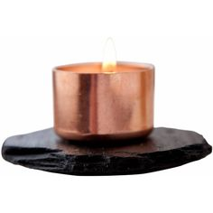 Slated - Copper & Slate Candle Holder (140 RON) ❤ liked on Polyvore featuring home, home decor, candles & candleholders, copper candle holders, copper home accessories, copper candleholder, handmade home decor and copper candlestick holder