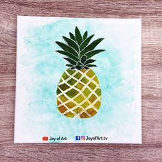 How to paint pineapple easy acrylic painting by Joy of Art Tutorial is now on You Tube Simple Acrylic Paintings, Art Tutorials, Painting & Drawing, Pineapple, Tube, Joy, Drawings, Pine Apple, Glee