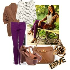 How to wear purple pants, created by vallle