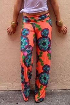 Orange Print Wide Leg Exumas Pants