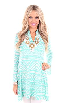 Lime Lush Boutique - Mint and White Aztec Print Dress or Top with Bell Sleeves , $39.99 (http://www.limelush.com/mint-and-white-aztec-print-dress-or-top-with-bell-sleeves/)
