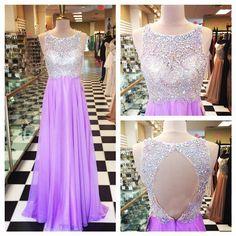 Elegant A-Line Jewel Floor Length Satin Purple Prom Dress With Beading