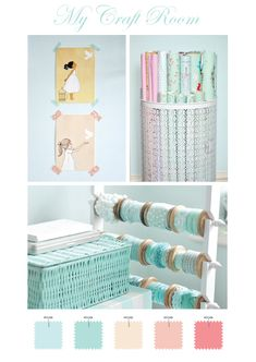 """Craft room- I want the metal laundry baskets for my wrapping paper..too bad it's in the UK :("" #laundry Laundry Room Decor and Organizing Tips"