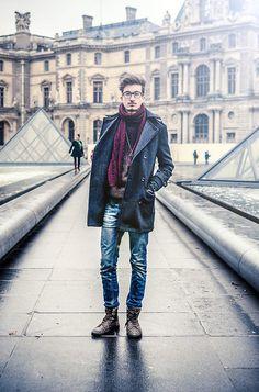Asos Scarf, Topman Sweater, Topman Denim Jeans, Pull & Bear Boots, Primark Coat