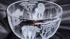 Big Five Hand carved glass etched glass bowl by karenskarvings, $193.00