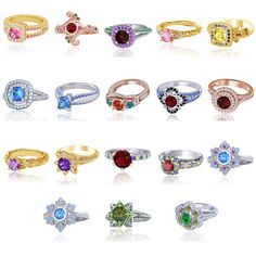 925 Sterling Silver Multicolor CZ Disney Princess Engagement & Wedding Ring #adorablejewelry #EngagementWedding #EngagementWeddingCyberMondayPromiseChristmas
