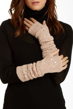 Cable Knit Sequin Arm Warmers