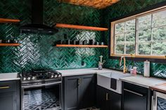 Looking for a durable subway tile? Glazed Thin Brick Forest is a perfect addition to your kitchen backplash, bathroom, fireplace, or commercial project. Green Kitchen Walls, Dark Green Kitchen, Kitchen Backplash, Kitchen Tiles, Green Tile Backsplash, Green Tiles, Home Decor Kitchen, Kitchen Interior, Kitchen Design