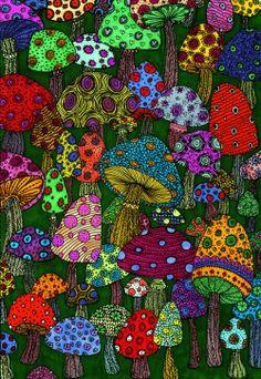 Psychedelic Peace:  Mushrooms zentangles
