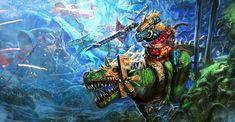Age of Sigmar Artwork   Seraphons   Saurus Knights vs Skaven