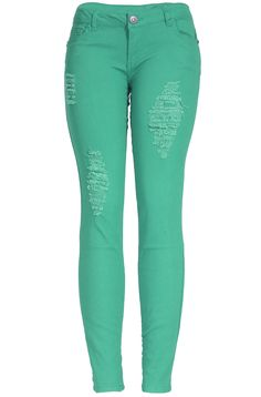 - 96%Cotton 4%Spandex - Made in China - These unique and trendy skinny jeans feature a slim stretch fit, ankle length hem, front zipper & button closure, and distressed ripped detailing. - Our Trendy