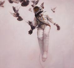 White - cosmonaut - painting figurative - Jeremy Geddes -  white cosmonaut