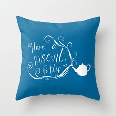 Biscuit (blue + white) Throw Pillow by Rosianna - $20.00