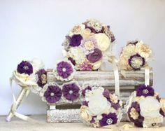 Wedding bouquet set  matching men buttonholes by MySecretFace