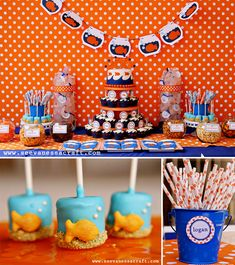 Most ADORABLE Polka Dot Goldfish birthday party! Cute for girls or boys, gender neutral, totally darling! let-s-get-this-party-started-right-party-themes-in 2nd Birthday Parties, Boy Birthday, Birthday Ideas, Happy Birthday, Marshmellow Treats, Marshmallow Pops, Goldfish Party, Goldfish Cake, Baby Shower