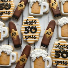 Celebrating 50 years with a surprise party for her husband Beer Cookies, Cut Out Cookies, Sugar Cookies, Birthday Cookies, 70th Birthday, Cigar Cake, Cuban Party, Retirement Party Invitations, 50th Party