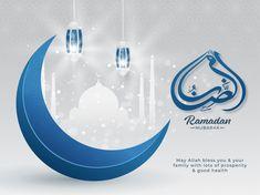 Islamic Holy Month Of Ramadan Mubarak With Arabic Calligraphic Text, Blue Crescent Moon, Hanging Lanterns On White Paper Mosque On Silver Background. Eid Mubarak Background, Ramadan Background, Eid Mubarak Greeting Cards, Eid Mubarak Greetings, Ramadan Karim, Muharram Wallpaper, Eid Photos, Employee Id Card, Happy Islamic New Year