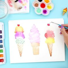 If you're looking for an excuse to break out your brushes, check out this watercolor ice cream cone tutorial from @linesacross Click for steps and supplies. #watercolor #icecreamart #watercolorart #artclass #orientaltrading