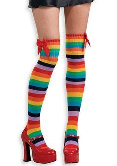 $10 Rainbow Thigh High women stocking stripe socks dance club costume clown perform #Rubies #ThighHighs