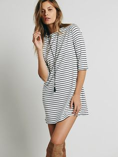Free People Striped Knit Boatneck Dress at Free People Clothing Boutique