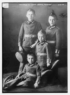 The 4 sons of Crown Prince Friedrich Wilhelm and Crown Princess Cecilie of Prussia.  Standing, clockwise:  Prince Wilhelm, Prince Louis Ferdinand, and Prince Friedrich.  Sitting:  Prince Hubertus.