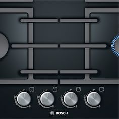 Buy Bosch Gas Hob, Black from our Hobs range at John Lewis & Partners. Kitchen Hob, Kitchen Sets, Kitchen Appliances, Kitchen Interior, Kitchen Design, Domestic Appliances, Clever Design, Food Preparation, Kitchen Countertops