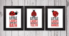 Little ladybugs bathroom rules 3 8x10 by RainbowsLollipopsArt, $22.00