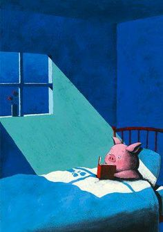 A pig reading in bed....don't question it! I bet he reads into the wee wee hours! MUAHAHA pun intended!