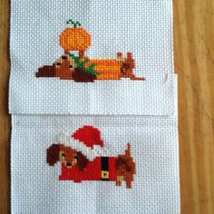 A long and short year is a collection of 12 adorable Dachshund dogs. One dog for every month. Stitch it individually or create your own Doxie sampler. Stitch sample is Nov and Dec.