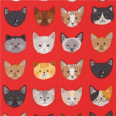 red Robert Kaufman fabric cute cat face 1