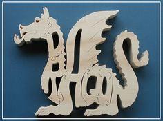 Puzzle bois Dragon découpé sur bois scie à par DukesScrollSaw