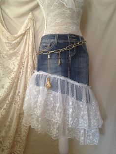 Lace Jean Skirt, Upcycled Jean Skirt, Denim Skirt, Dena Danielle Designs Size 1 on Etsy, $68.00