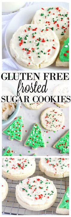 Gluten Free frosted sugar cookies - perfect for the holidays or dress them up with any color sprinkles and frosting to fit any holiday or celebration. Gluten free and dairy free from What The Fork food Blog | whattheforkfoodblog.com | Sponsored by Bob's Red Mill.