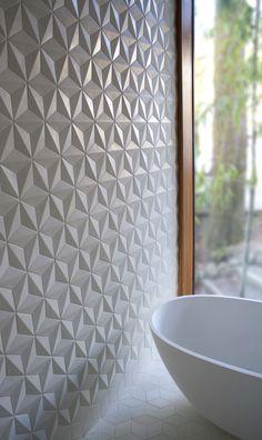 """thedesignwalker: """"Delta hex tiles: Interior, Idea, 3D Tile, Delta Hex, Wall Tile, Textured Tile, Bathroom Tile, Hex Tile """""""