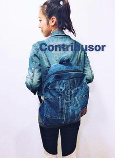 Upcycled Denim Backpack - Contribusor by UpcycleDenimBag on Etsy Denim Backpack, Denim Bag, Denim Branding, Timeless Design, Trendy Fashion, Upcycle, Backpacks, Stylish, Unique