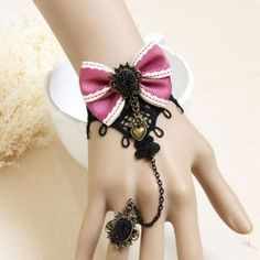$5.63 Sweet Rhinestone and Heart Shape Design Women's Lace Bowknot Bracelet With Ring