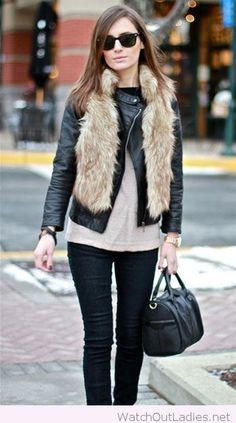 Black pants, white blouse, black jacket and fur vest