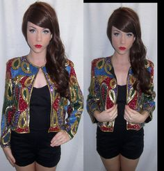 $79 vintage beaded/sequined jacket!  So now! Available on Etsy at the PolkaDotVintageShop!