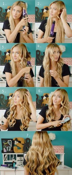Peinados - Hairstyles - Loose Curls Tutorials: Long Curly Hairstyles for Girls - PoPular Haircuts Loose Curls Hairstyles, Girl Hairstyles, Party Hairstyles, Simple Hairstyles, Formal Hairstyles, Wedding Hairstyles, Night Hairstyles, Wavy Hairstyles Tutorial, No Heat Hairstyles